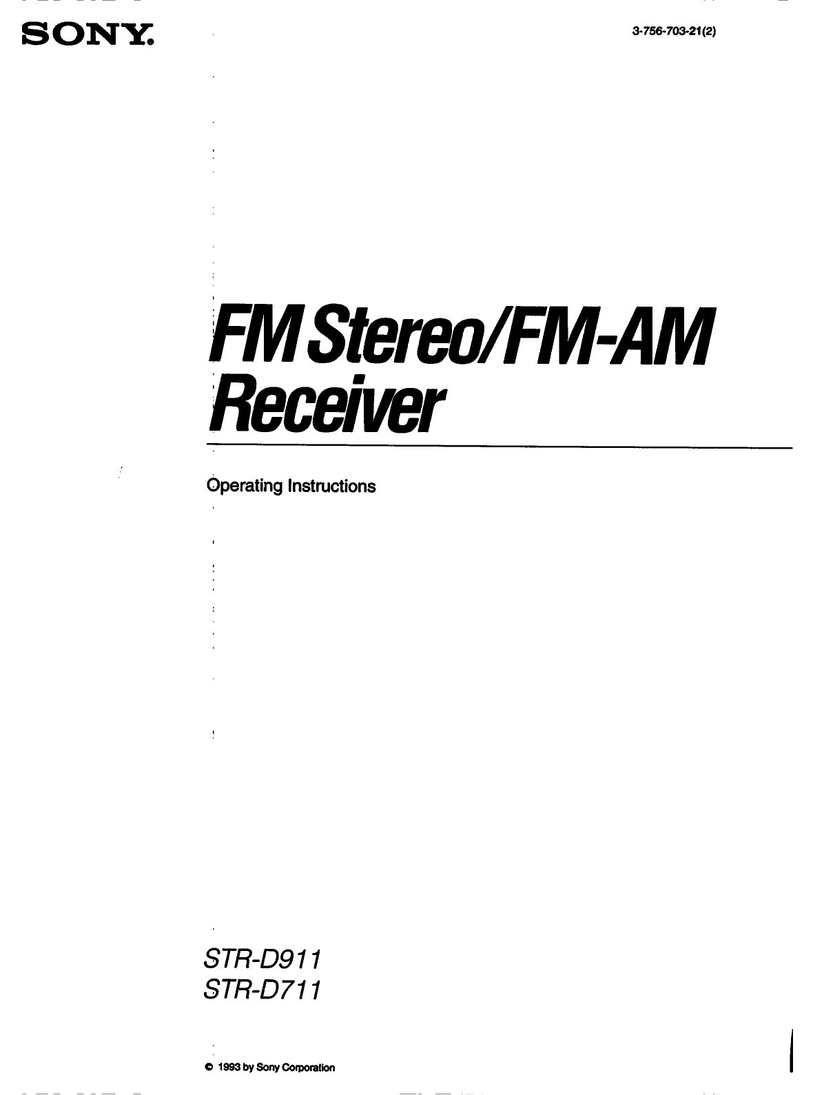 Download free pdf for Sony STR-D711 Receiver manual