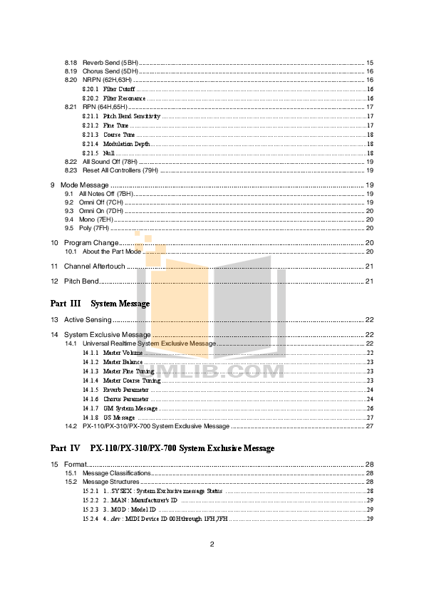 PDF manual for Casio Music Keyboard PX-700
