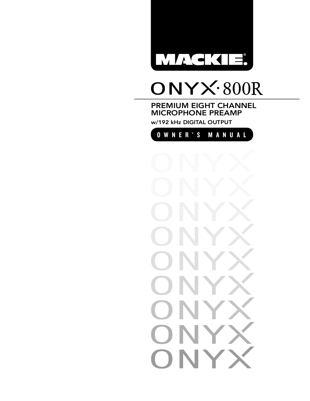 Download free pdf for Mackie ONYX 800R Air Conditioner manual