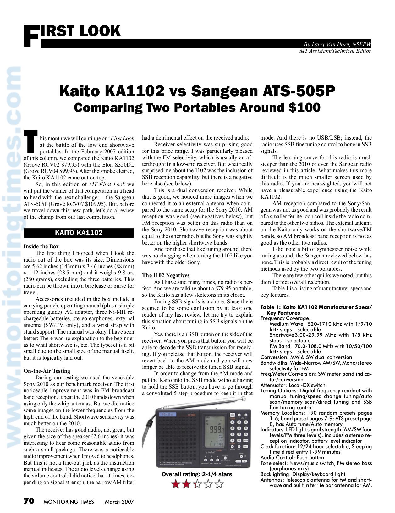 Download free pdf for Sangean ATS-505 Radio manual