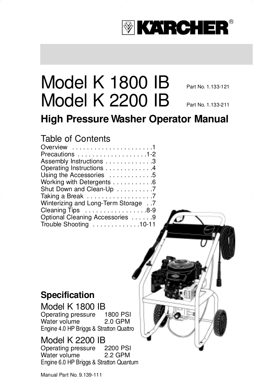 Download free pdf for Karcher K 1800 IB Pressure Washers
