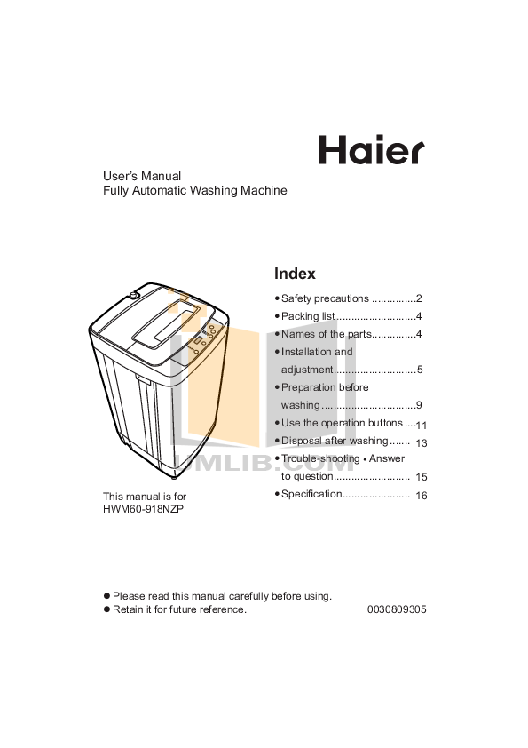 Download free pdf for Haier HMS800TVE Washer manual