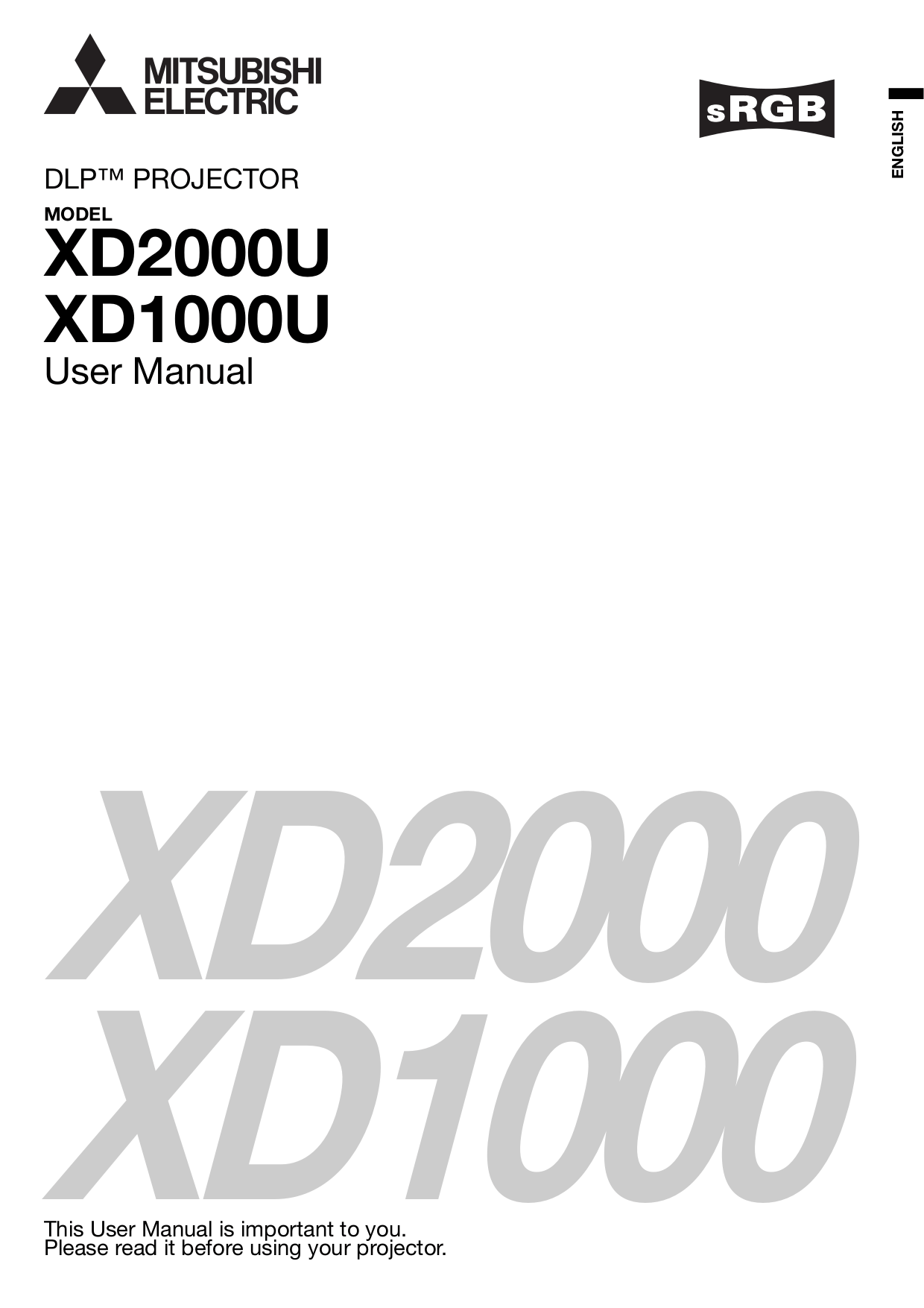 Download free pdf for Mitsubishi XD2000U Projector manual
