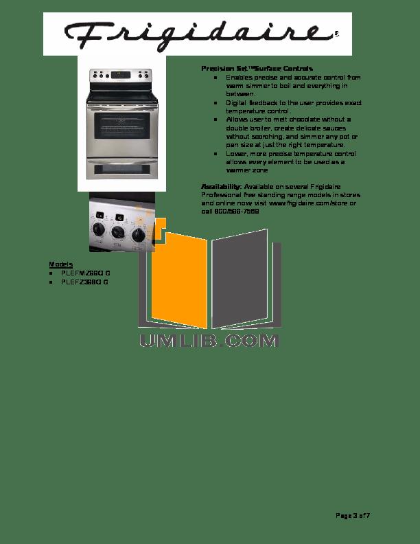 PDF manual for Frigidaire Range PLEFMZ99GC