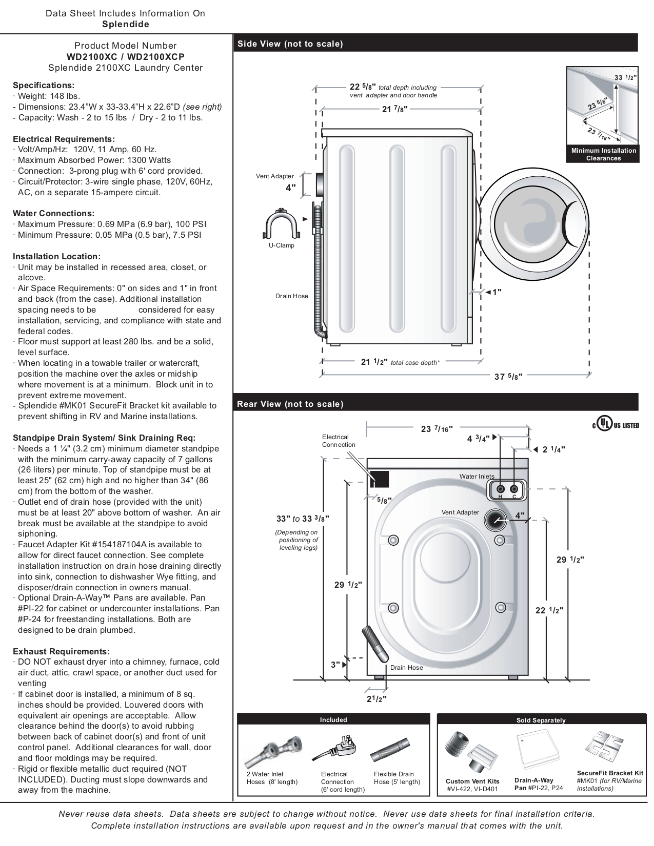 PDF manual for Splendide Other 2100 Washer-Dryers-Combo