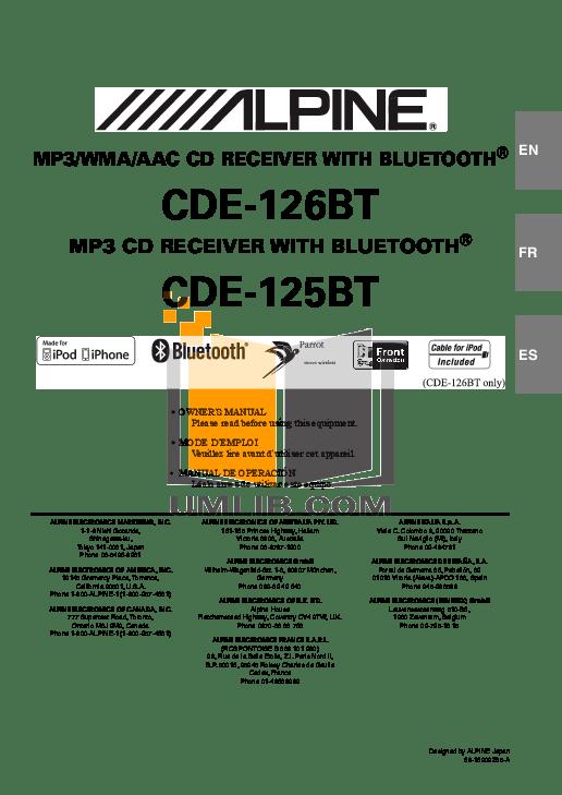 Download free pdf for Alpine CDE-125BT Car Receiver manual