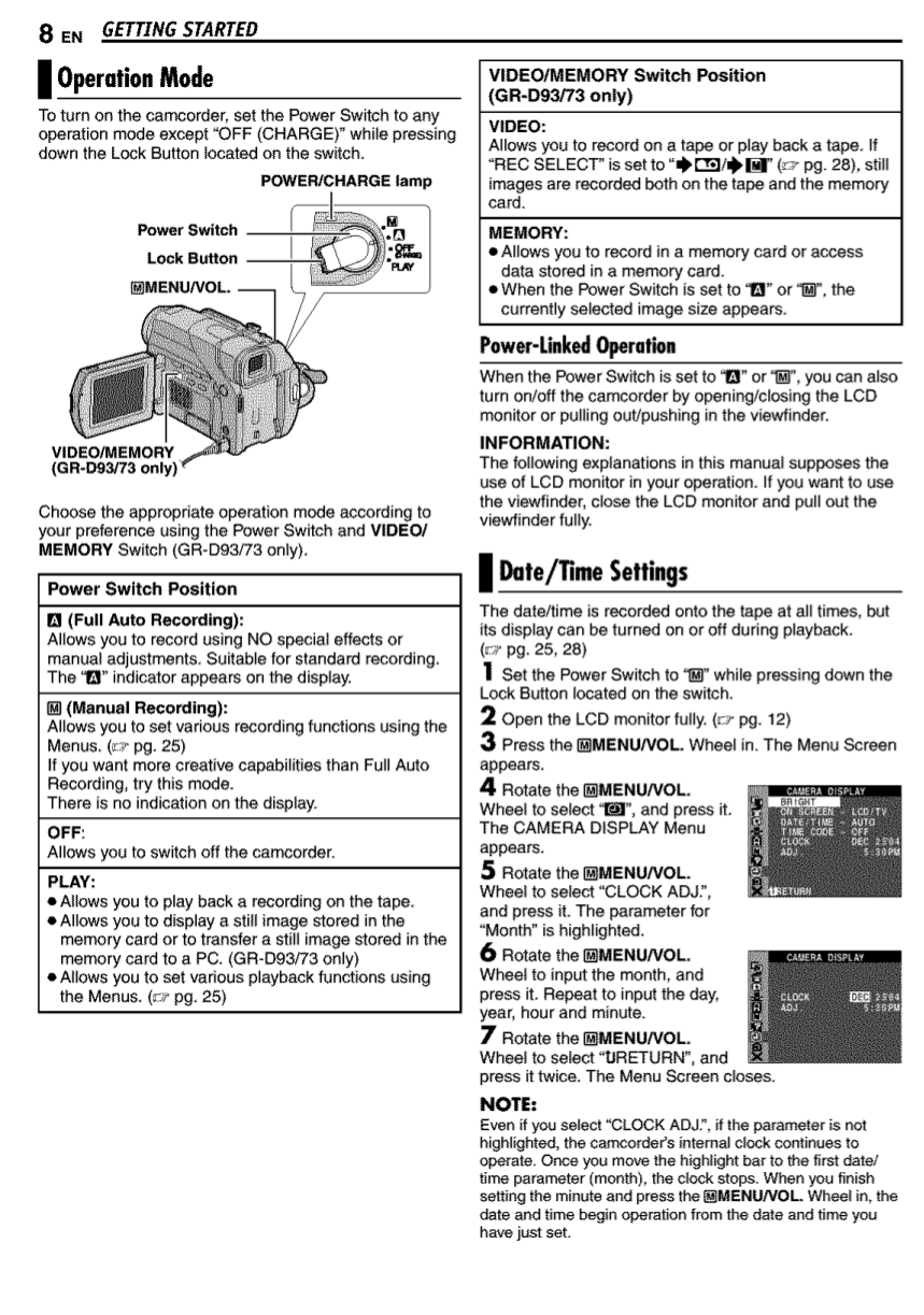 PDF manual for JVC Camcorders GR-D93US