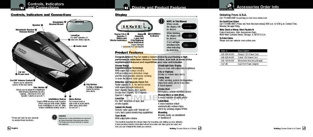 PDF manual for Cobra Radar Detector XRS9330