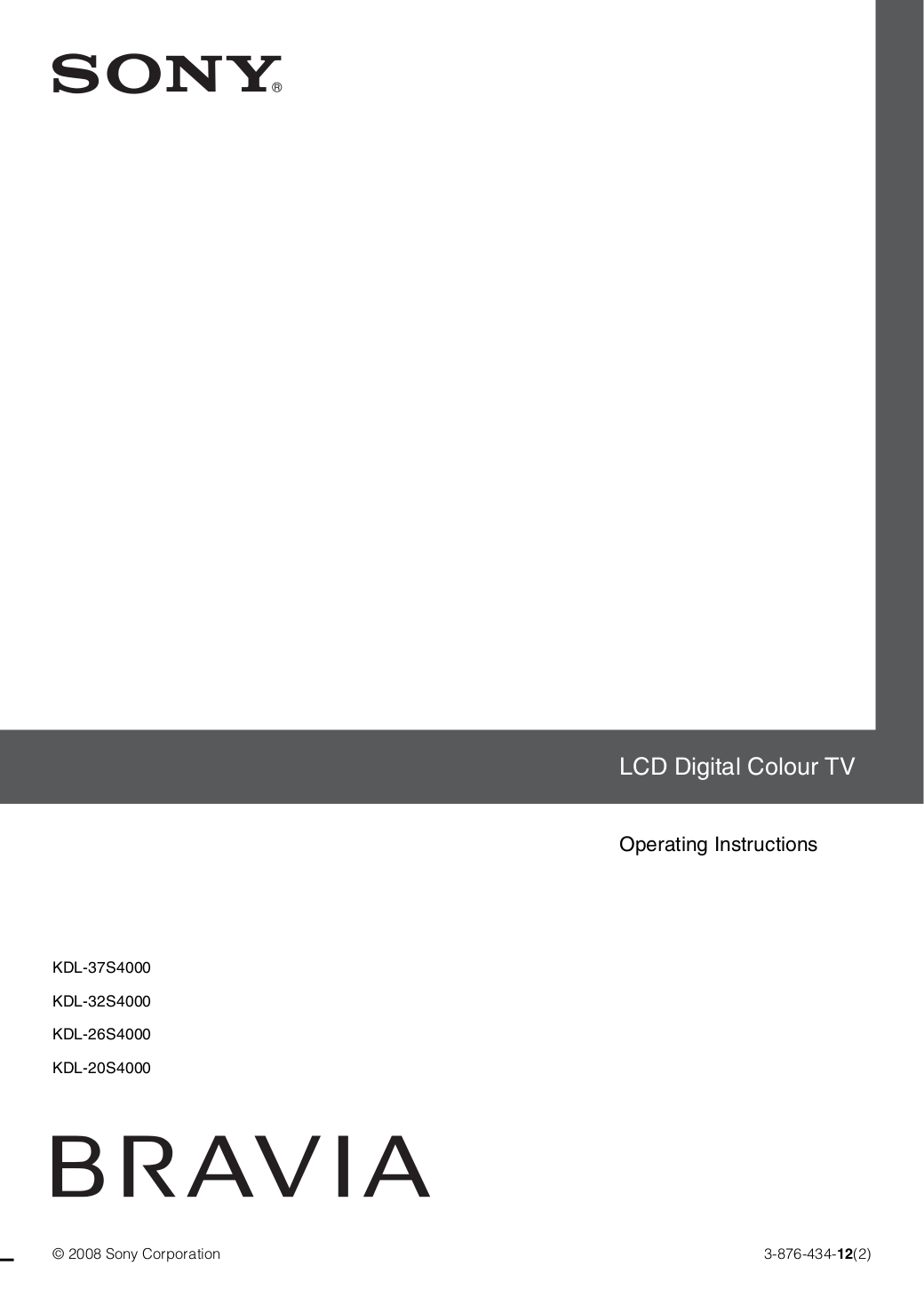 Download free pdf for Sony BRAVIA KDL-20S4000 TV manual