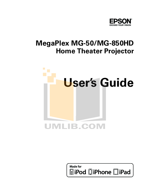 Download free pdf for Epson Megaplex MG-50 Projector manual