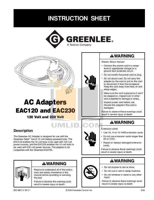 Download free pdf for Greenlee EAC120 Adapters Other manual