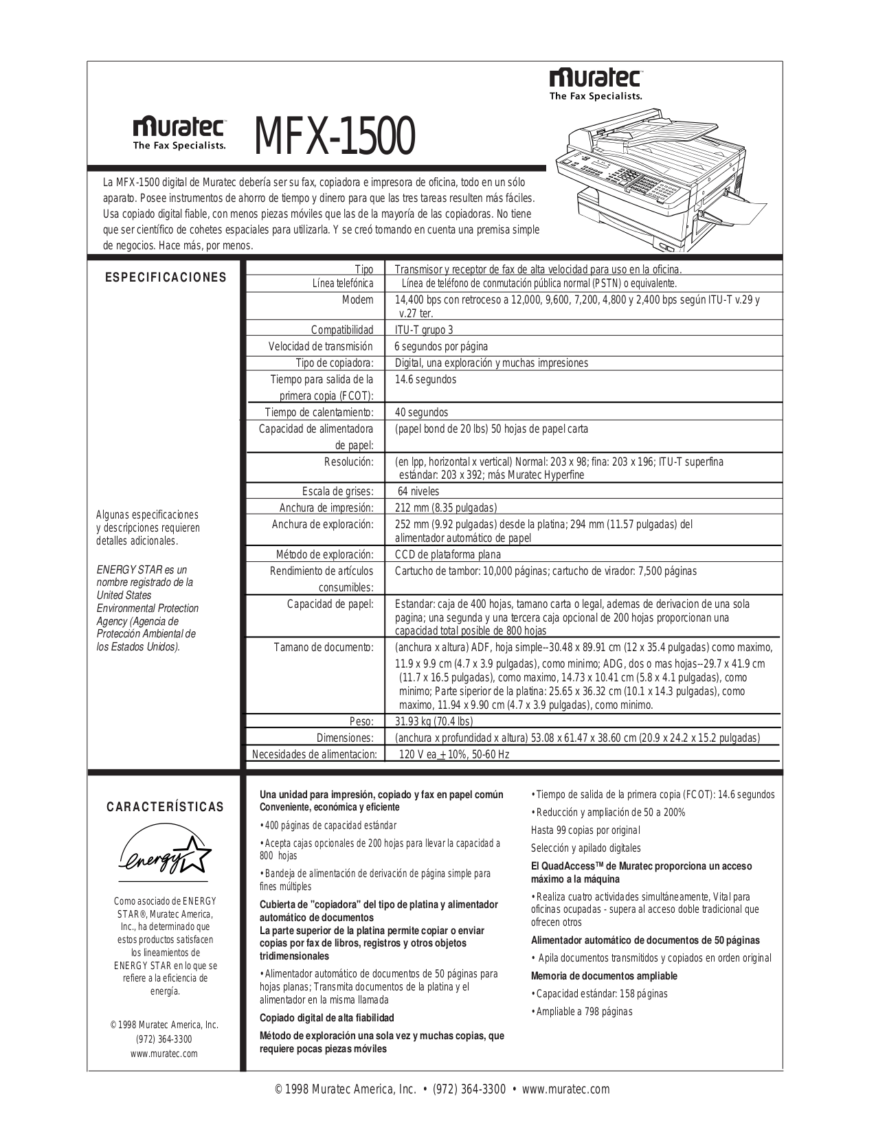 Download free pdf for Muratec MFX-1500 Copier manual