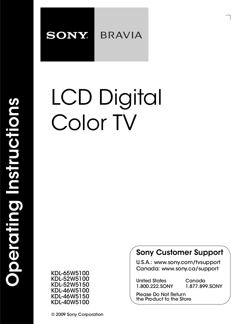 Download free pdf for Sony BRAVIA KDL-40W5100 TV manual