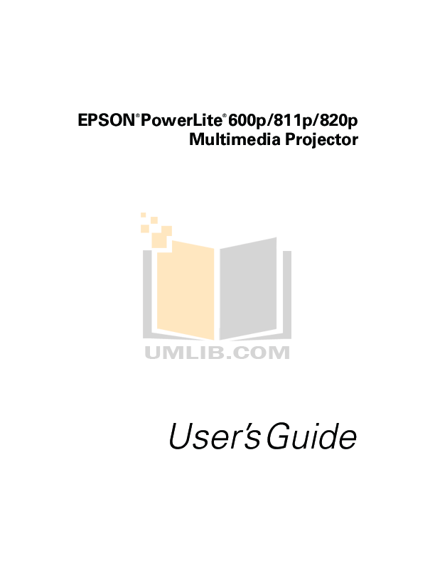 Download free pdf for Epson EMP-820 Projector manual