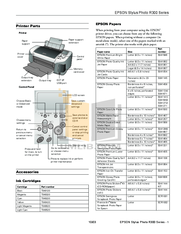 Download free pdf for Epson Stylus Photo R3000 Printer manual