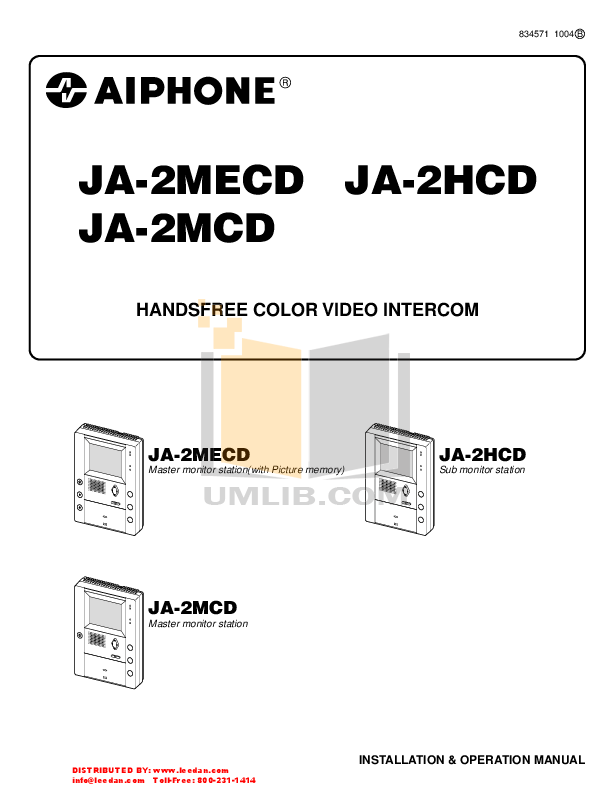 Download free pdf for Aiphone MK-2MCD Intercoms Other manual