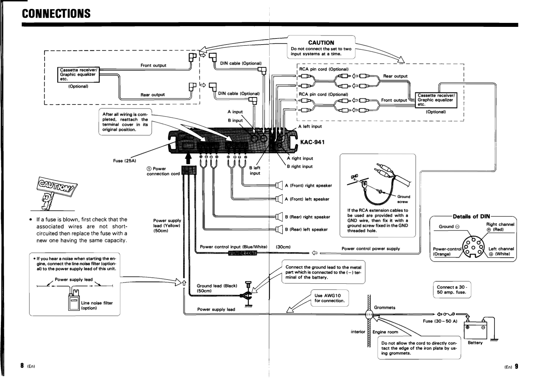 PDF manual for Kenwood Amp KAC-941
