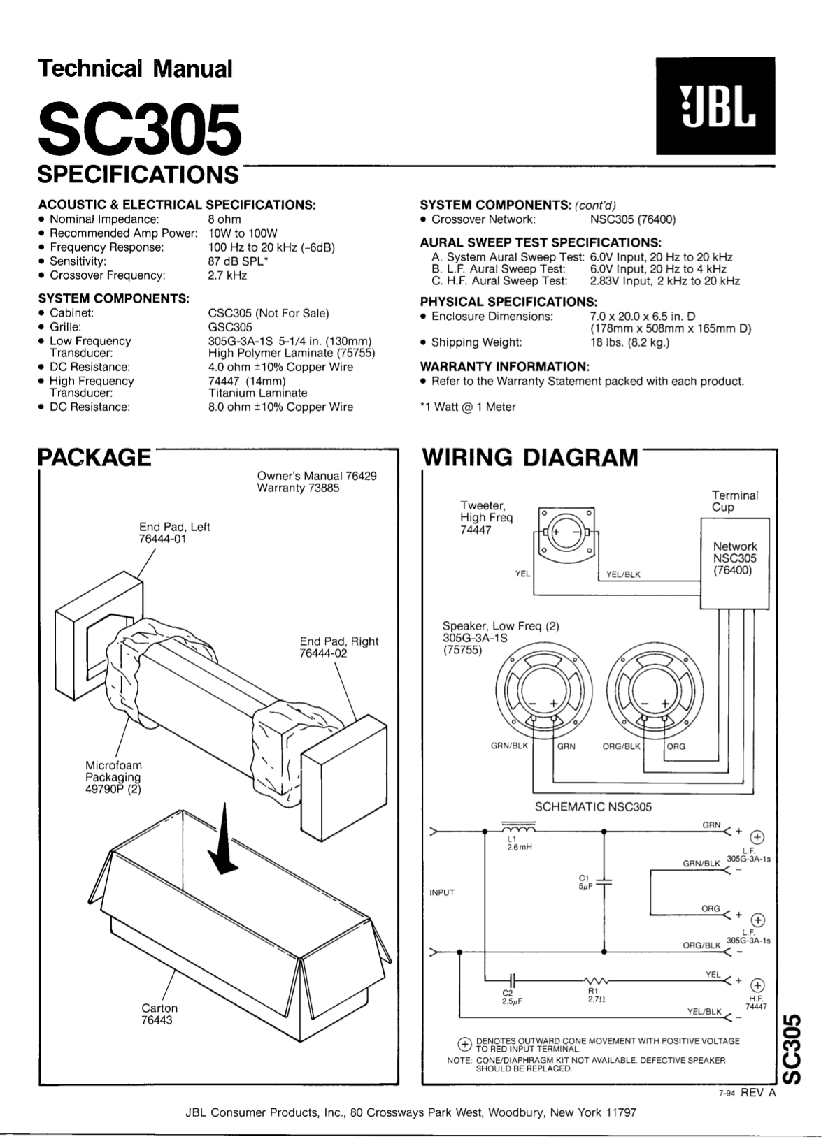 Download free pdf for JBL SC305 Speaker manual