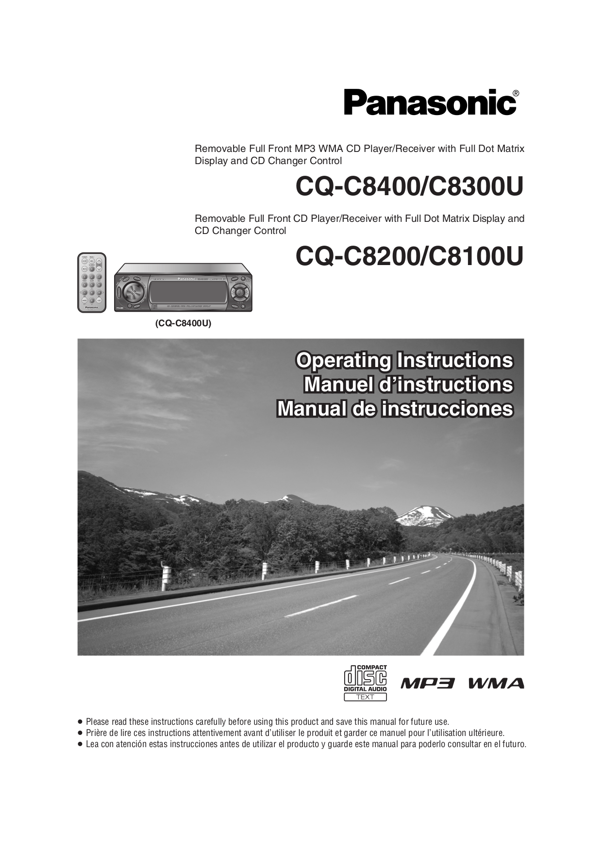 hight resolution of pdf for panasonic car receiver cq c8100u manual