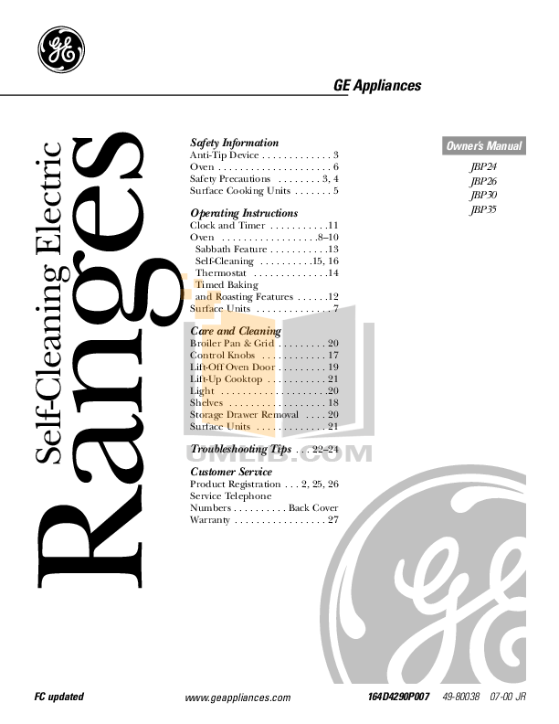 Download free pdf for GE JSP42 Range manual