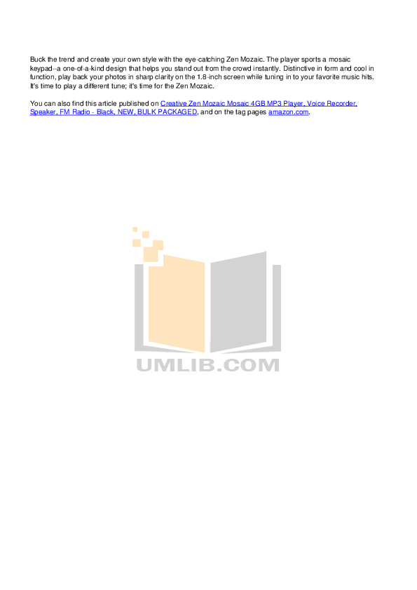 PDF manual for Creative MP3 Player ZEN Zen Mozaic 4GB