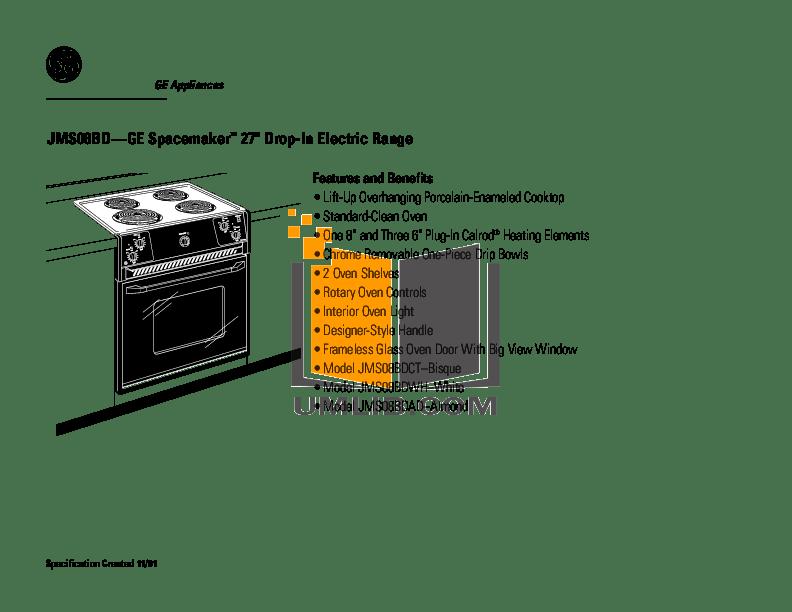 PDF manual for GE Range Spacemaker JMS08BDWH