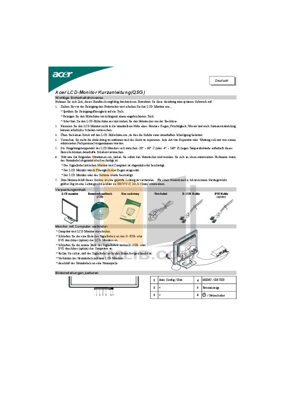 Download free pdf for Acer AL2416W Monitor manual
