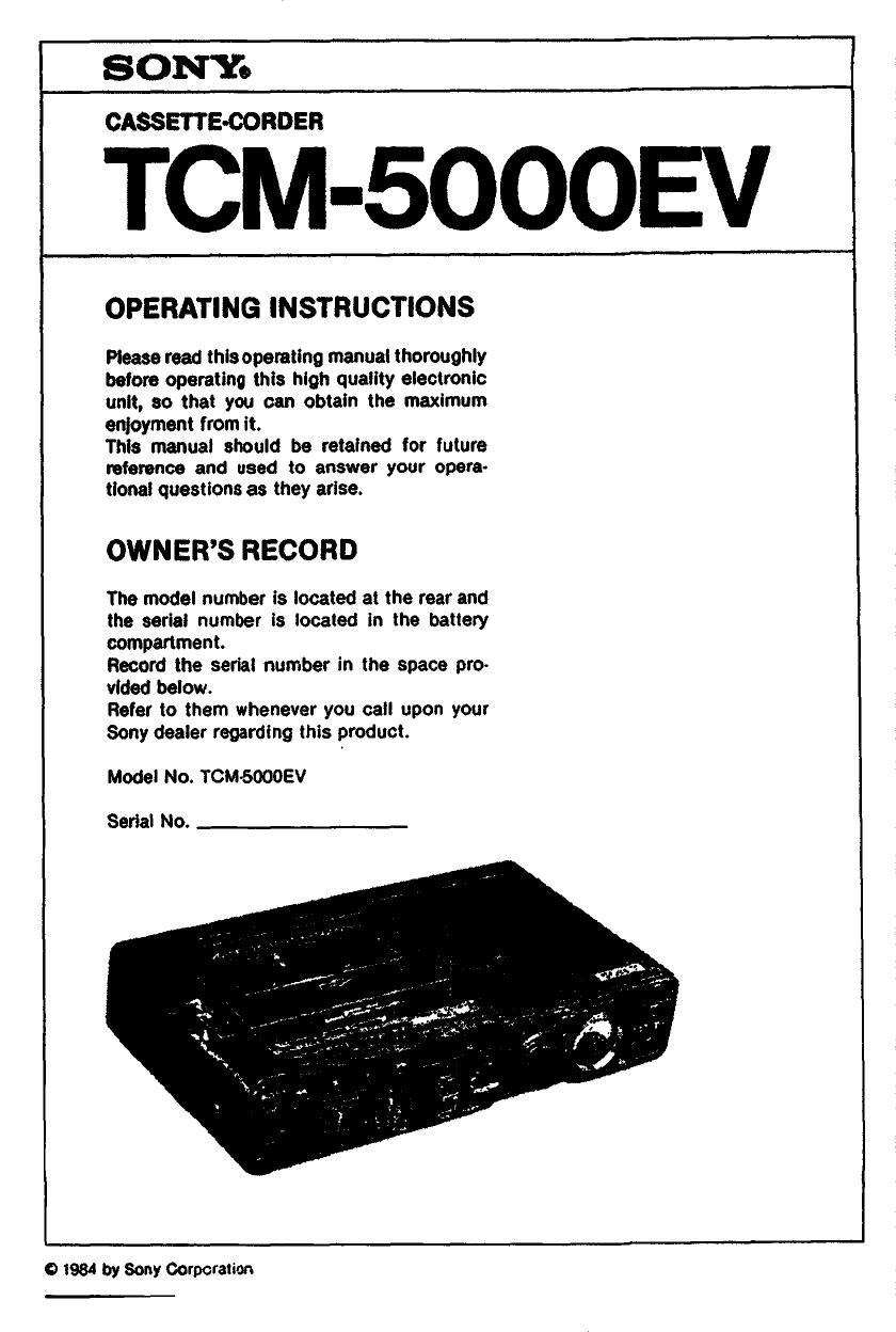 Download free pdf for Sony TCM-16 Voice Recorder manual
