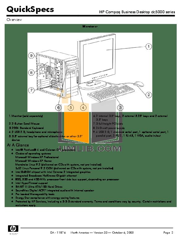 PDF manual for HP Desktop Compaq dc5000 MT