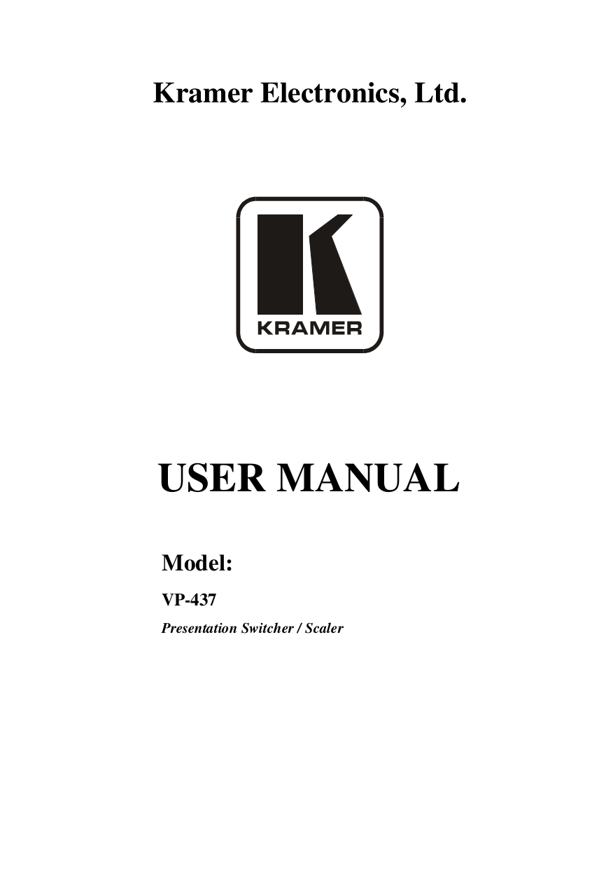 Download free pdf for Kramer VP-437 Digital Scalers Other