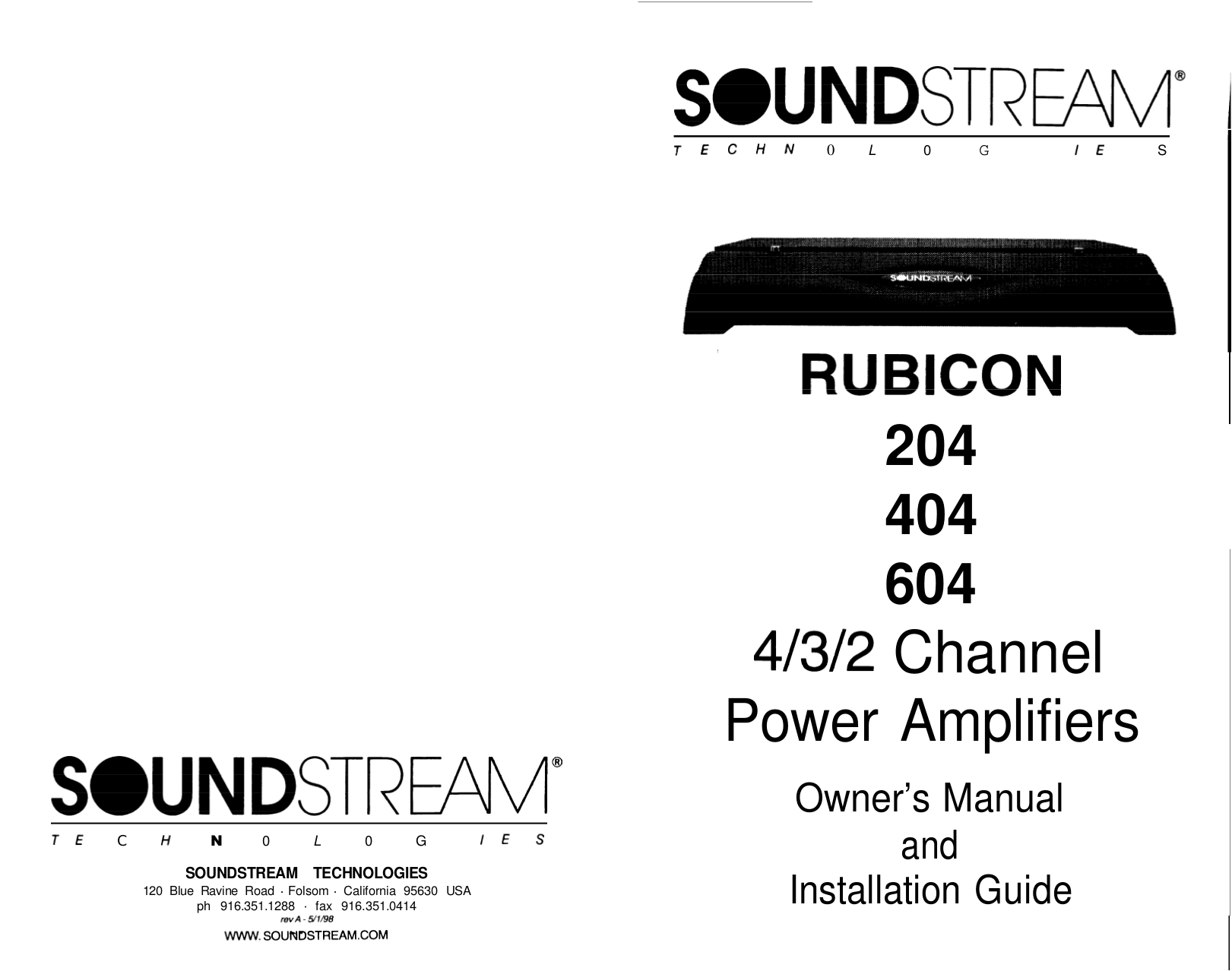 Download free pdf for Soundstream Rubicon 604 Car