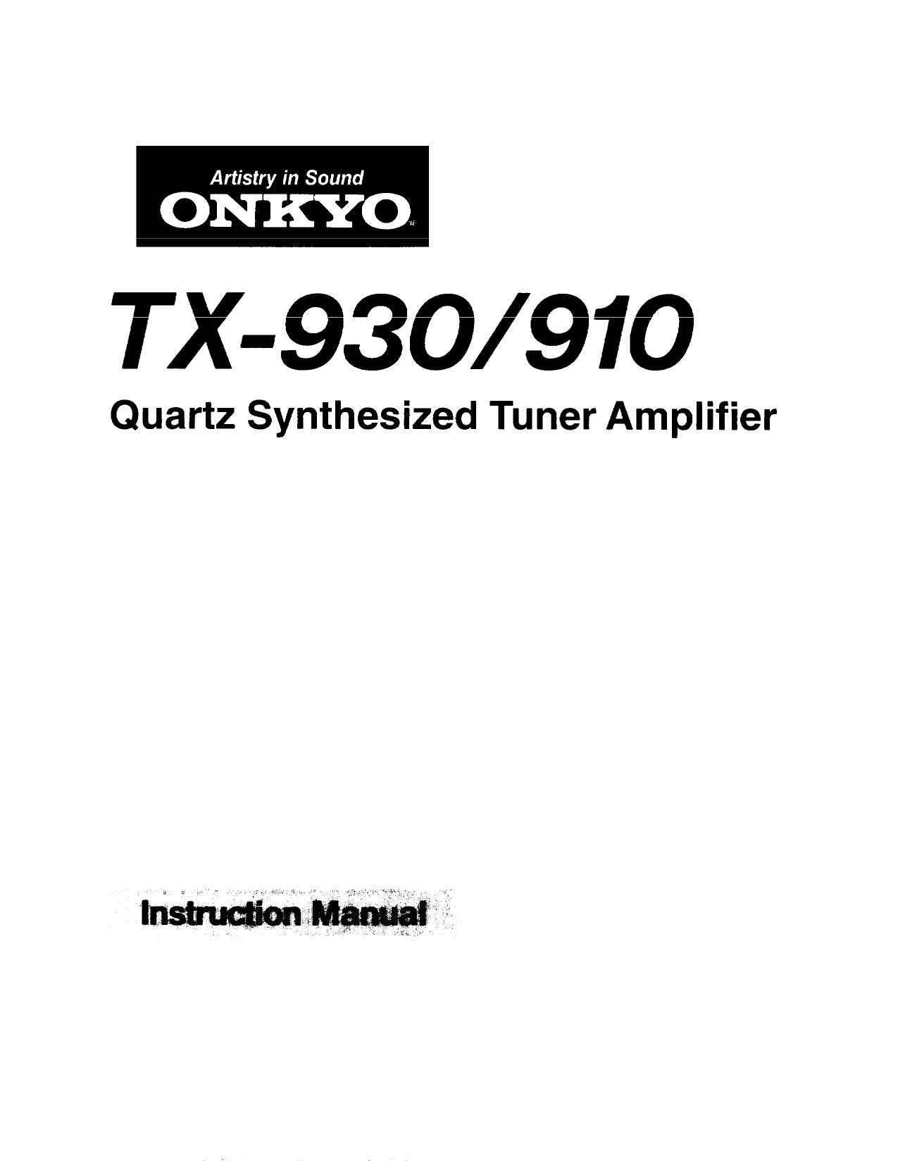 Download free pdf for Onkyo TX-930 Receiver manual