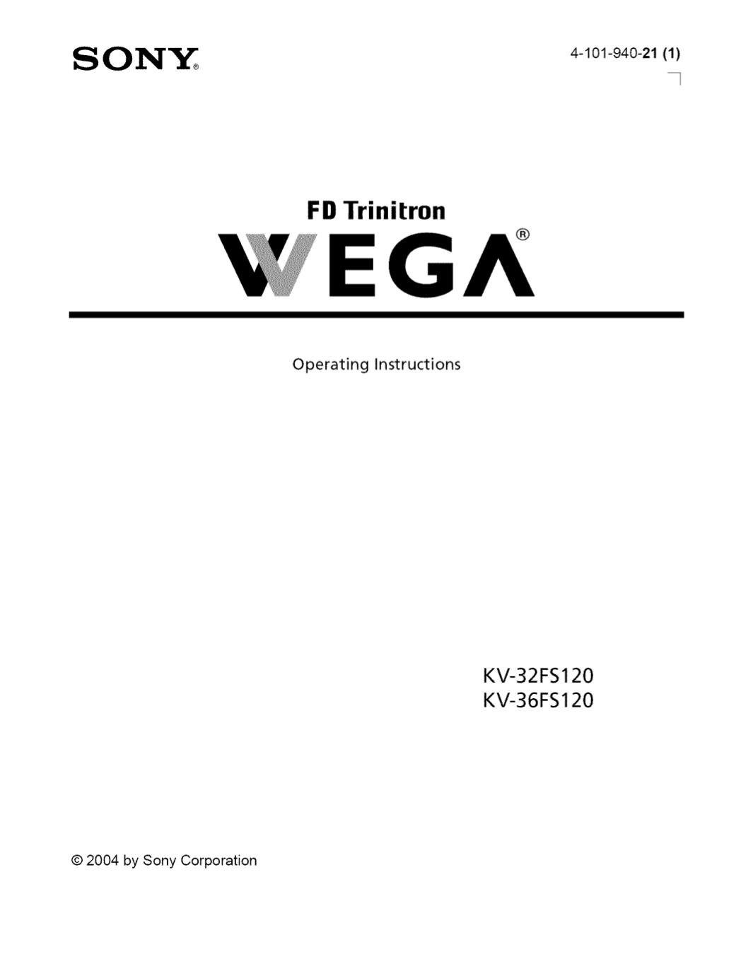 Download free pdf for Sony WEGA KV-32FS120 TV manual
