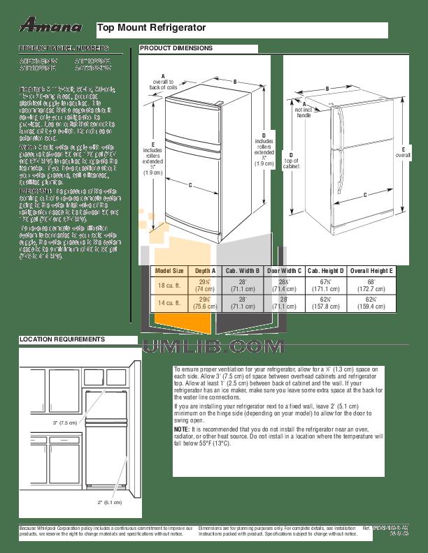 Download free pdf for Amana ATB1822MRS Refrigerator manual