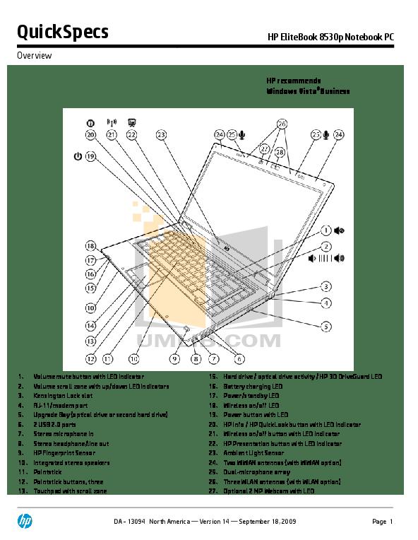 Download free pdf for HP EliteBook 8530p Laptop manual