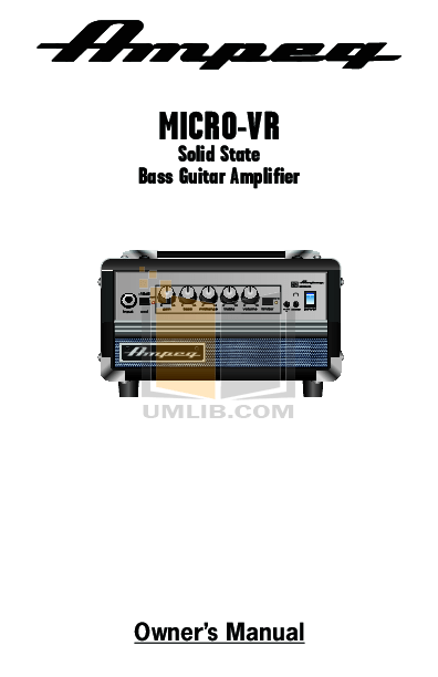 Download free pdf for Ampeg Micro-VR Amp manual