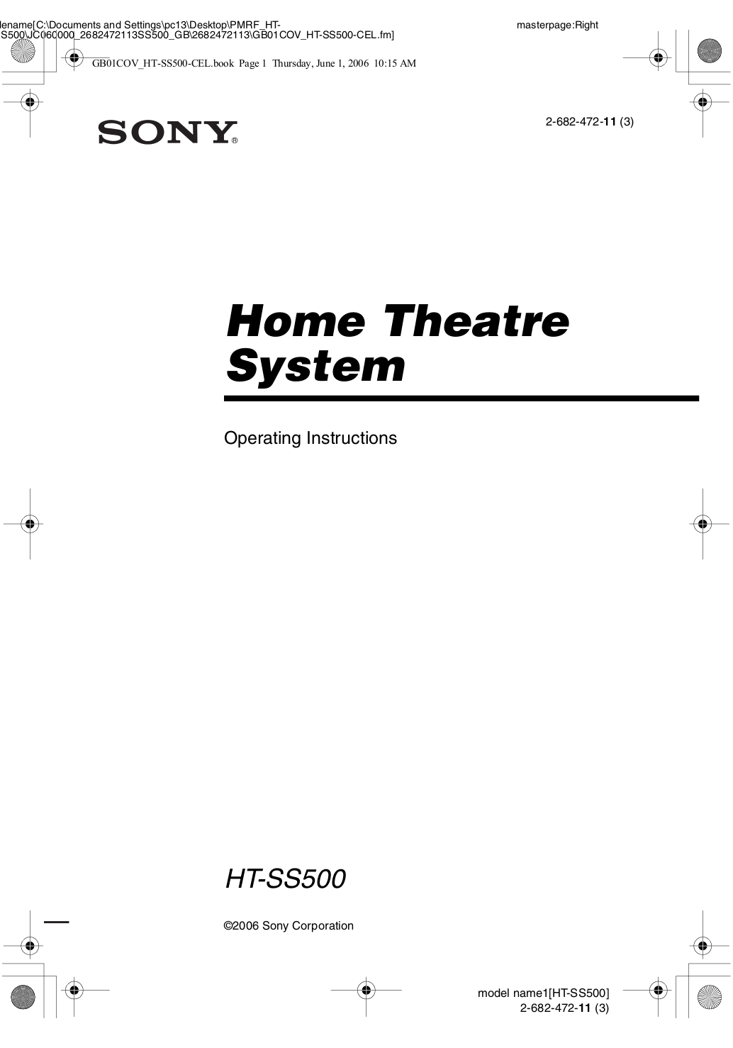 Download free pdf for Sony SS-MSP700 Speaker manual
