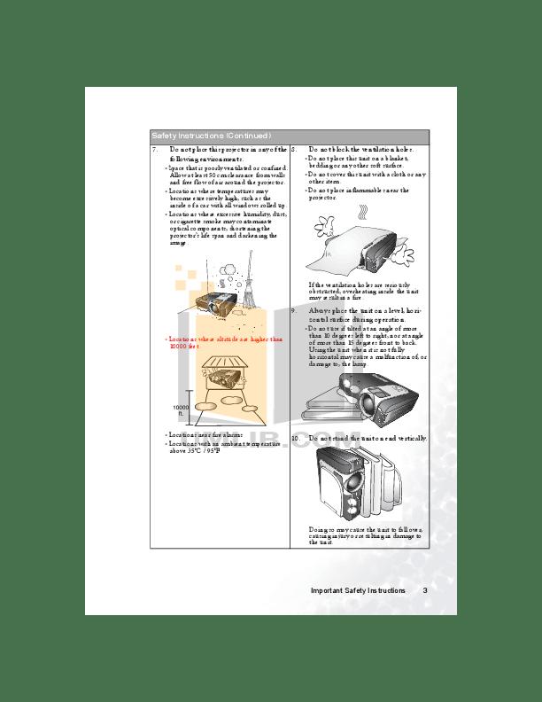 PDF manual for Benq Projector PB6210