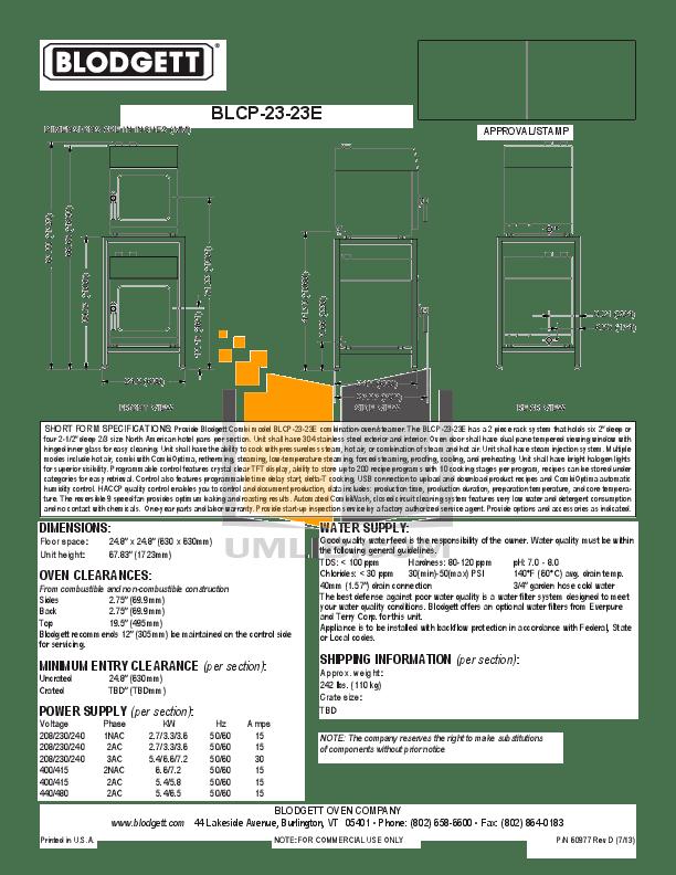 PDF manual for Blodgett Oven 1060