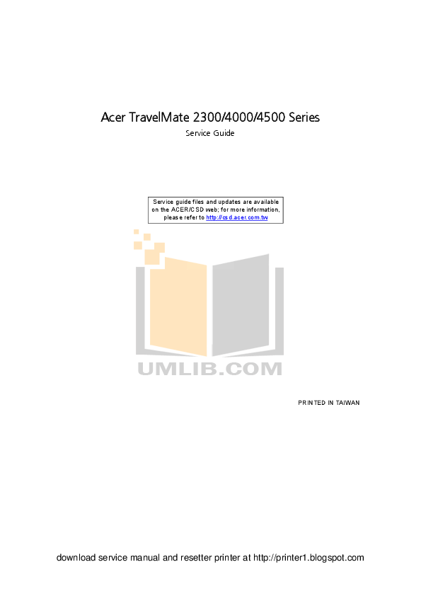 Download free pdf for Acer TravelMate 4000 Laptop manual