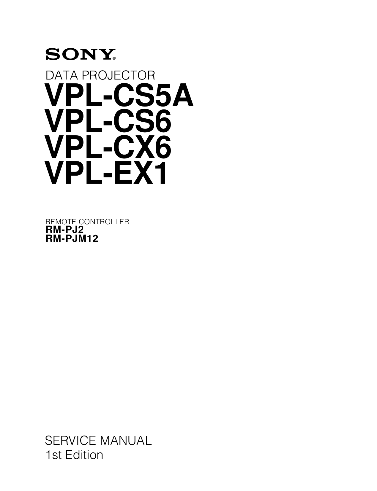Download free pdf for Sony VPL-EX1 Projector manual