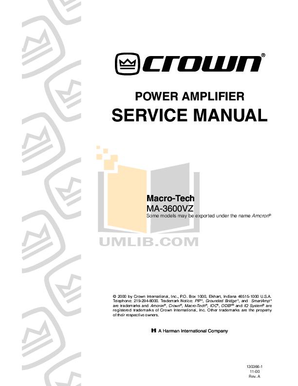 Download free pdf for Crown Micro-Tech MT-1000 Amp manual