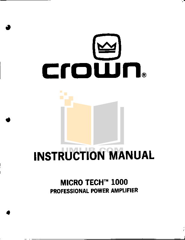 Download free pdf for Crown Micro-Tech MT-1000 Amp manual