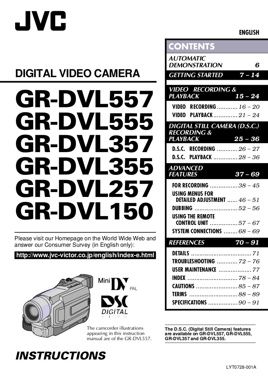 Download free pdf for JVC GR-DVL355EG Camcorders manual