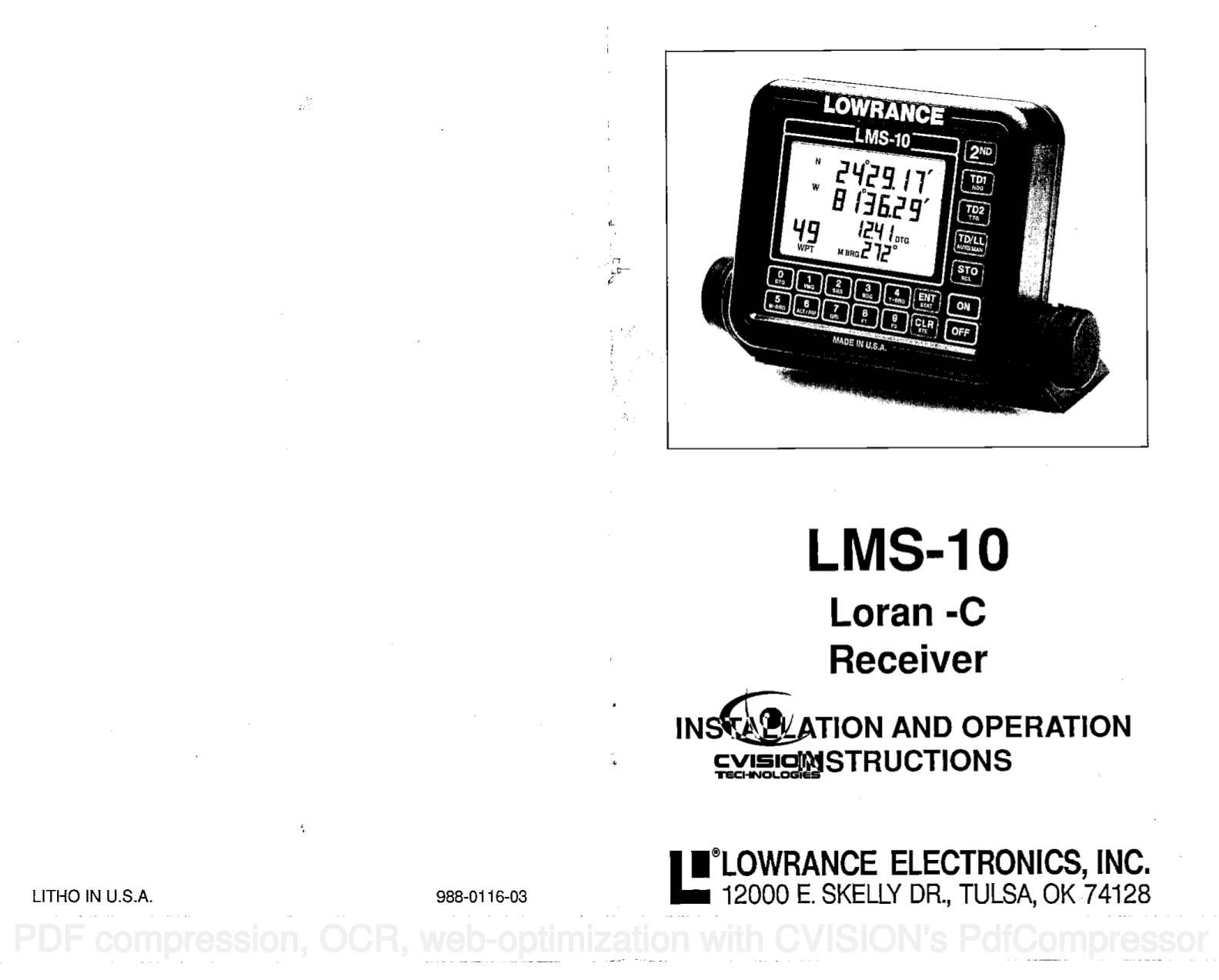 Download free pdf for Lowrance LMS-320 GPS manual