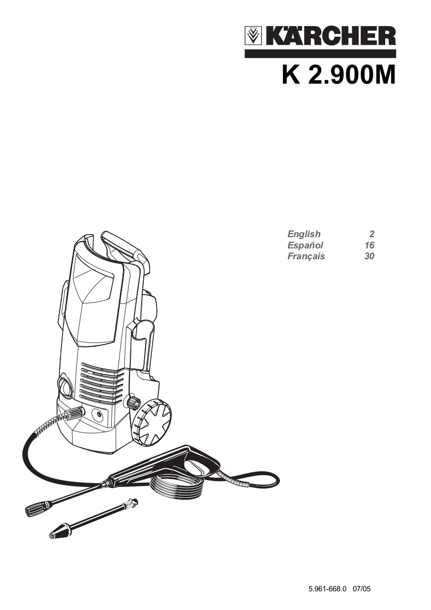 Download free pdf for Karcher K 2.900 M Pressure Washers