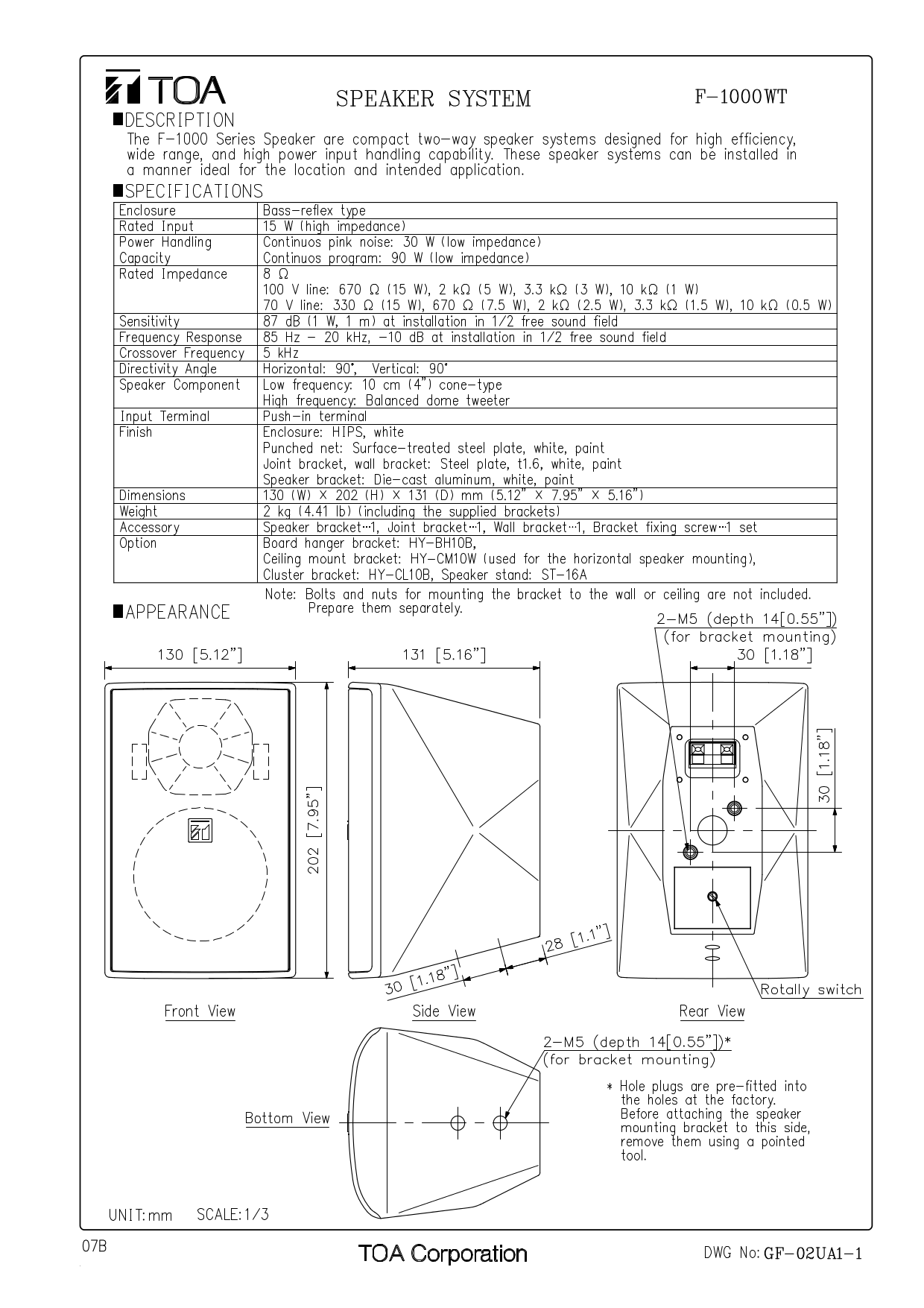 Download free pdf for Toa F-1000WT Speaker System manual