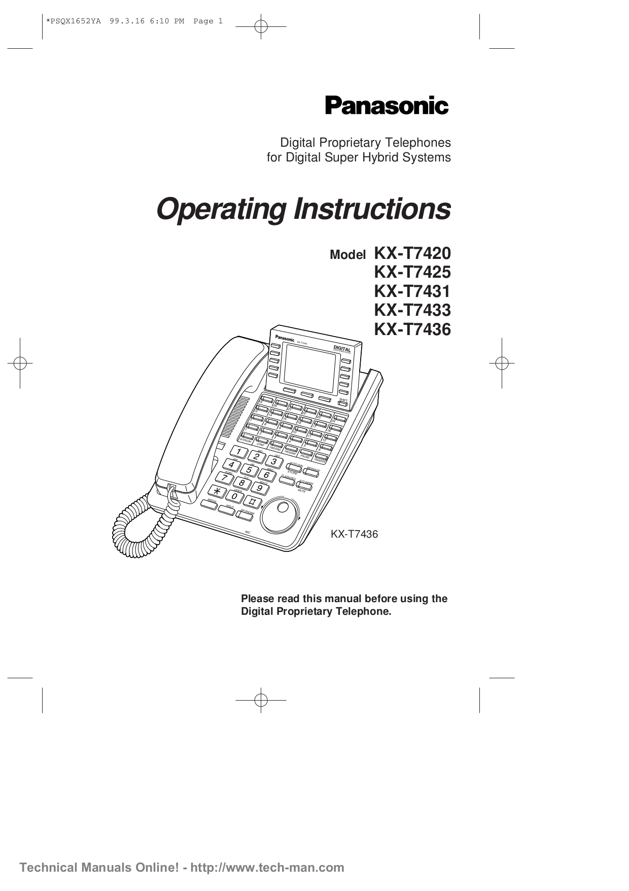 Download free pdf for Panasonic KX-T7431 Telephone manual