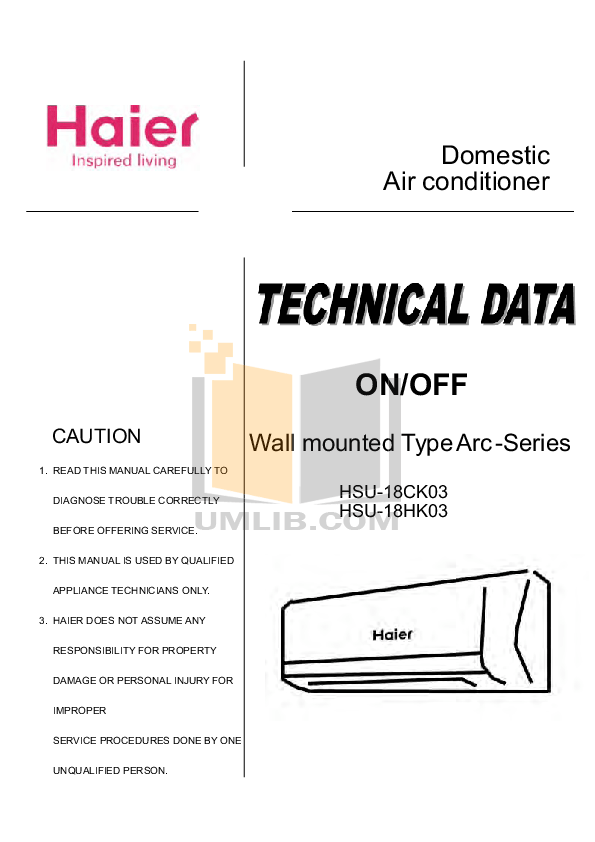 PDF manual for Haier Air Conditioner HSU-18HK03