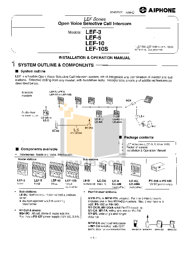 Download free pdf for Aiphone LEF-10 Intercoms Other manual
